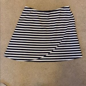 LOFT Navy and White Striped Skirt - Medium Petite